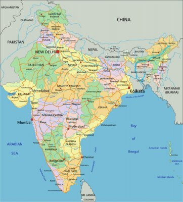 Wall mural India - Highly detailed editable political map with labeling.