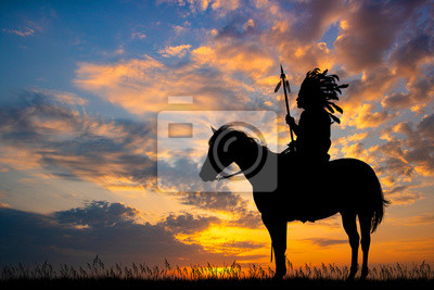 Wall mural indian man at sunset