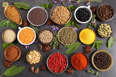 Wall mural Indian spices.