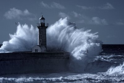 Wall mural Infrared stormy lighthouse