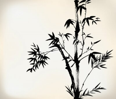 Wall mural ink painted bamboo