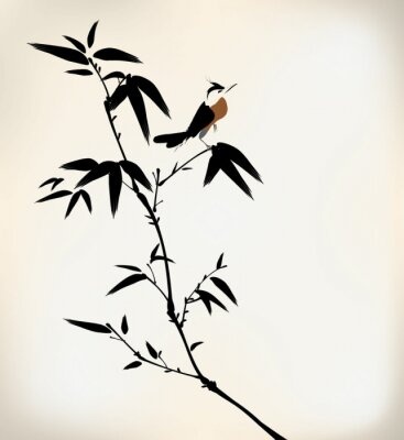 Wall mural ink painted bamboo and bird
