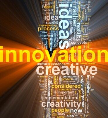 Innovation word cloud glowing
