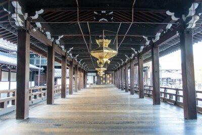 Wall mural Interior of the wooden Shinto Nishi Hongan-Ji temple in Kyoto - Honshu - Japan - Asia