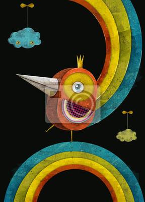 Iron bird.Fire bird in crown on the rainbow.Concept design