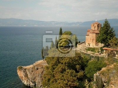 Wall mural Isolated Church Overlooking Lake
