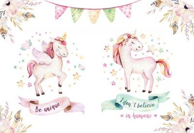 Wall mural Isolated cute watercolor unicorn clipart. Nursery unicorns illustration. Princess rainbow unicorns poster. Trendy pink cartoon horse.