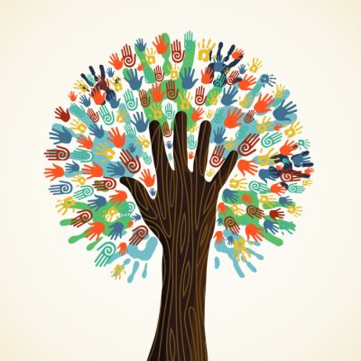 Wall mural Isolated diversity tree hands
