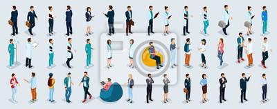 Wall mural Isometric Set Businessmen and Businesswomen