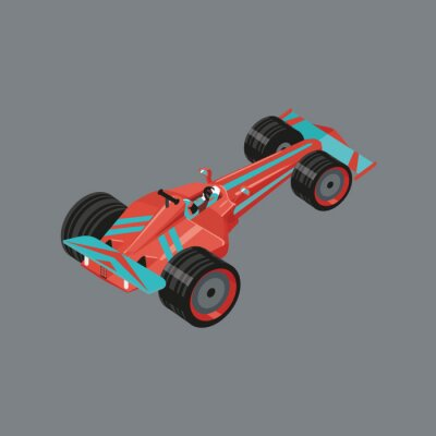 Wall mural Isometric sports car. Isolated vector cartoon auto for racing. Red sport automobile with a racer inside.