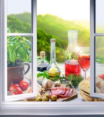 Wall mural italienische Küche - Vorspeisen (Antipasti) am Fenster