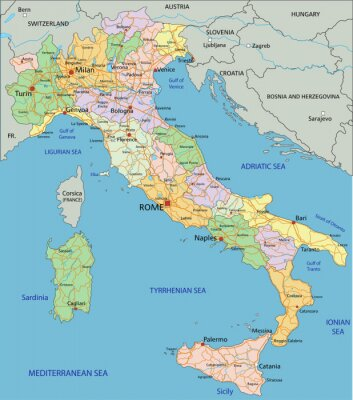 Wall mural Italy - Highly detailed editable political map with separated layers.