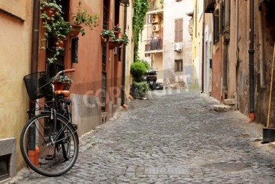 Wall mural Italy, street with bicycle and flowers in Rome