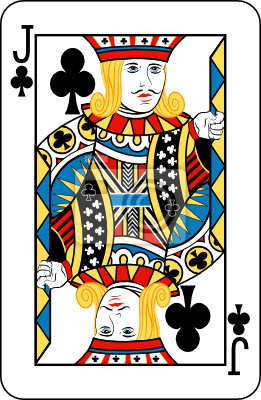 Jack of clubs from deck of playing cards