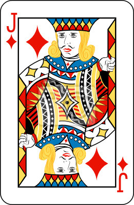 Jack of diamonds from deck of playing cards