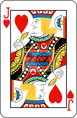 Jack of Hearts from deck of playing cards