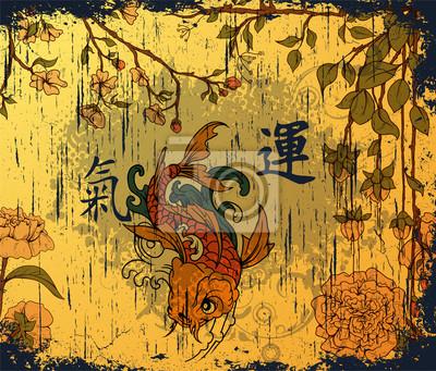 japanese background with koi fish