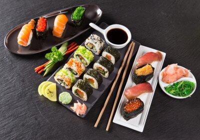 Wall mural Japanese seafood sushi set