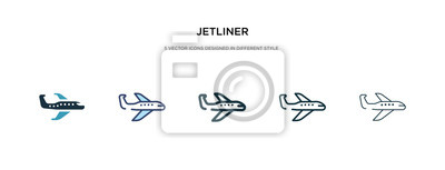Wall mural jetliner icon in different style vector illustration. two colored and black jetliner vector icons designed in filled, outline, line and stroke style can be used for web, mobile, ui