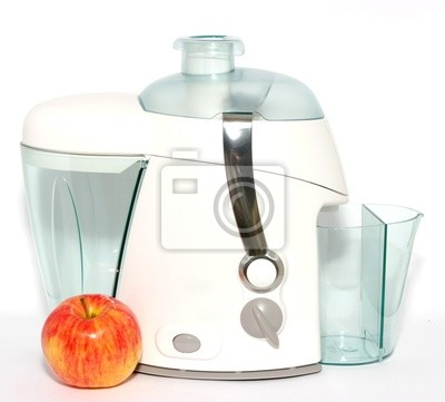 Wall mural juice extractor on a white