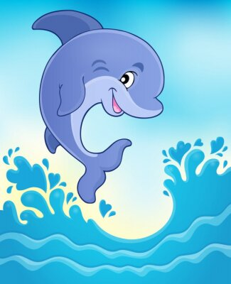 Wall mural Jumping dolphin theme image 6