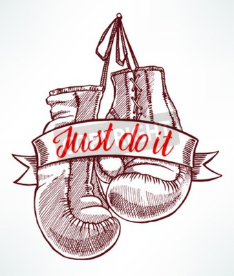 Wall mural just do it. red boxing gloves. hand-drawn illustration