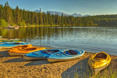 Wall mural Kayaks at Pyramid Lake in Jasper National Park, Alberta, Canada