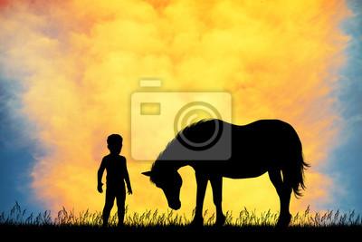 Wall mural kid and horse at sunset