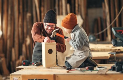 Wall mural Kid with dad assembling wooden bird house in craft workshop