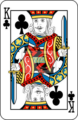 King of clubs from deck of playing cards