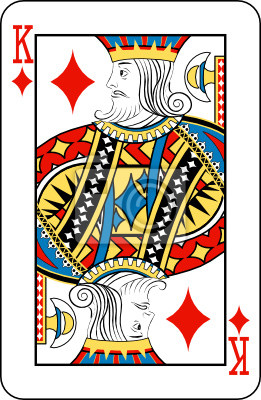 King of diamonds from deck of playing cards