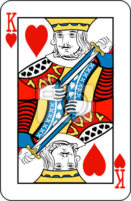 King of hearts from deck of playing cards