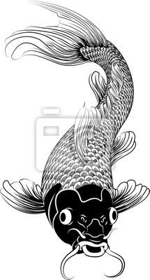 Kohaku koi carp fish illustration