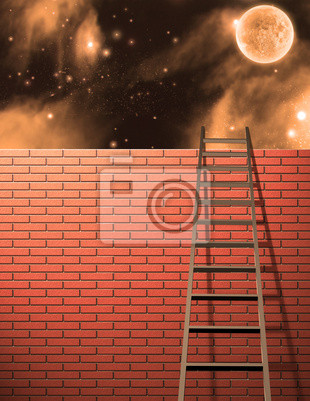 Ladder leans on wall with sky