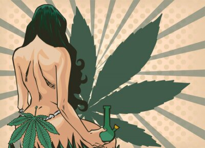 Wall mural Lady with cannabis leaf. The marijuana leafs on the background. Naked woman, vector image