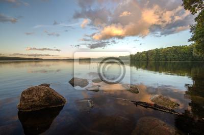 lake in the light of the setting sun in autumn-lake Drawsko, Poland