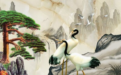 Wall mural Landscape illustration, marble, mountains, a pair of cranes, green pine on a rock