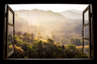 Wall mural landscape nature view background. view from window at a wonderful landscape nature view with rice terraces and space for your text in Chiangmai, Thailand , Indochina