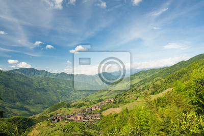 Landscape photo of rice terraces and village in china