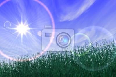 landschaft mit sonne