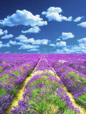 Wall mural Lavender field. Oil painting.