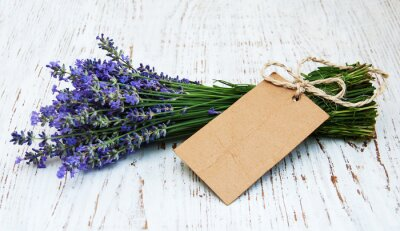 Wall mural lavender flowers with tag