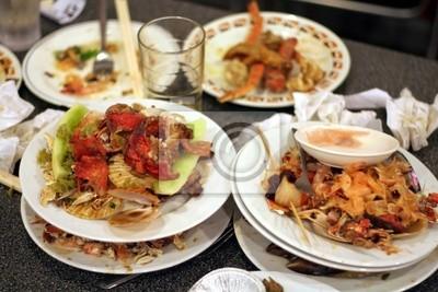 left dishes in restaurant