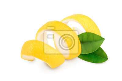 Wall mural Lemon peel with leaf isolated on white background. Healthy food