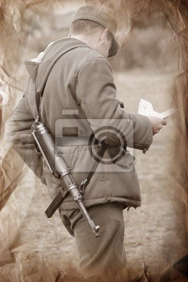 Wall mural Letter from home.German soldier. WWII reenacting