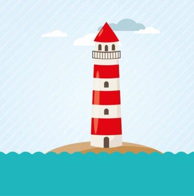 Wall mural Leuchtturm an Küste Vektor