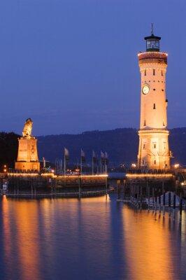 Wall mural Leuchtturm von Lindau am Bodensee bei Nacht