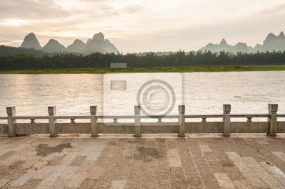Li river landscape and empty street from yangshuo