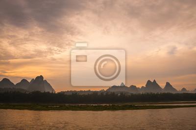 Li river landscape at dawn in yangshuo