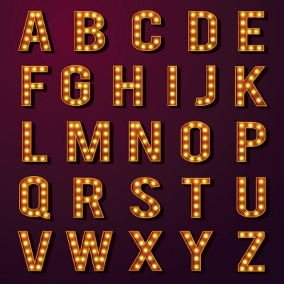 Wall mural Light Bulb Alphabets Set